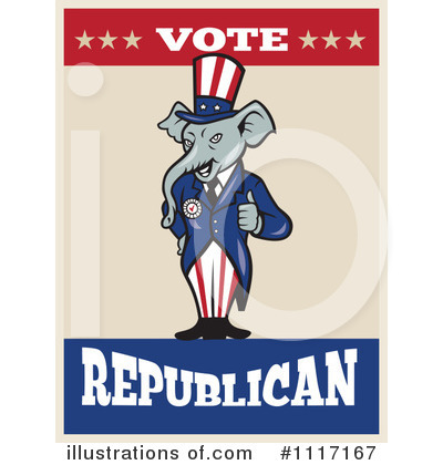 Republican Elephant Clipart #1117167 by patrimonio