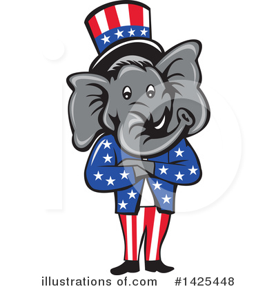 Republican Elephant Clipart #1425448 by patrimonio