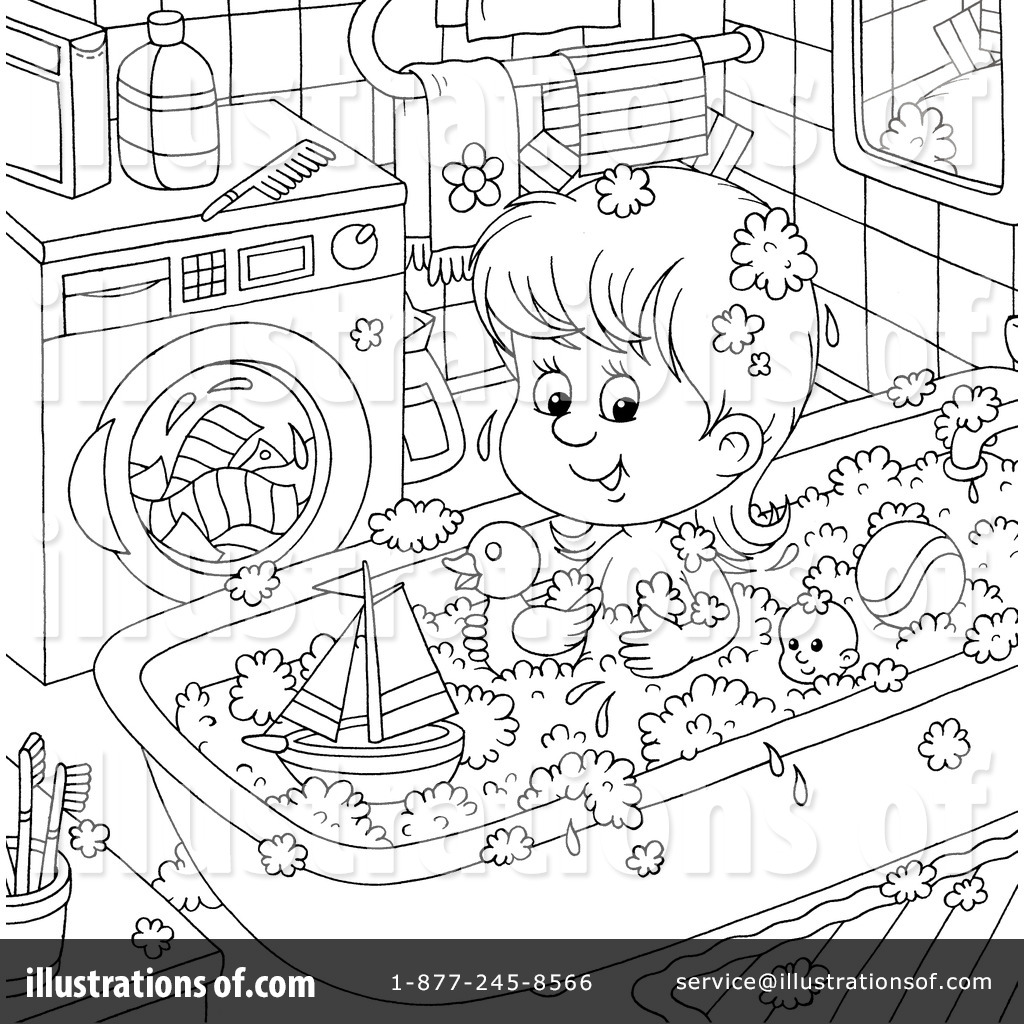 Free coloring pages of child in bath tub for Bath time coloring pages