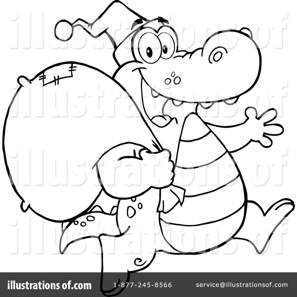 Crocodile Clipart #1214906 - Illustration by Hit Toon for Clipart Crocodile Black And White  70ref
