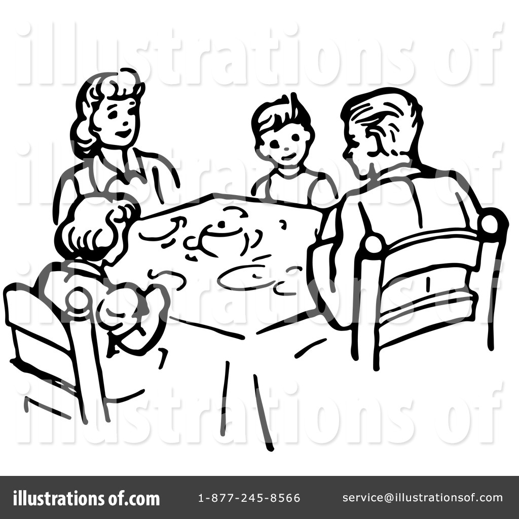 Dining room clipart black and white - Family Dinner Table Cl