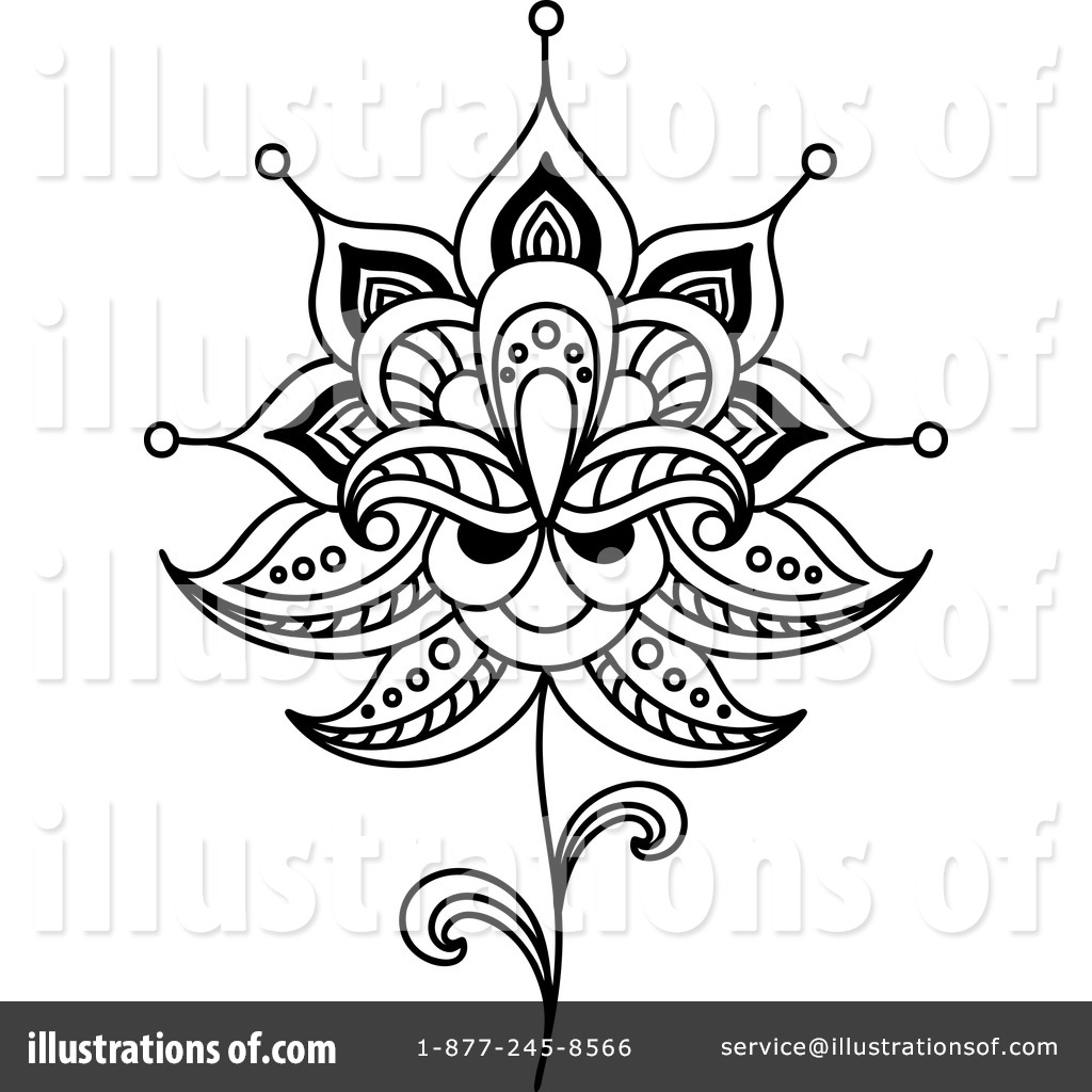 Henna Flower Clipart #1240782 - Illustration by Vector Tradition SM