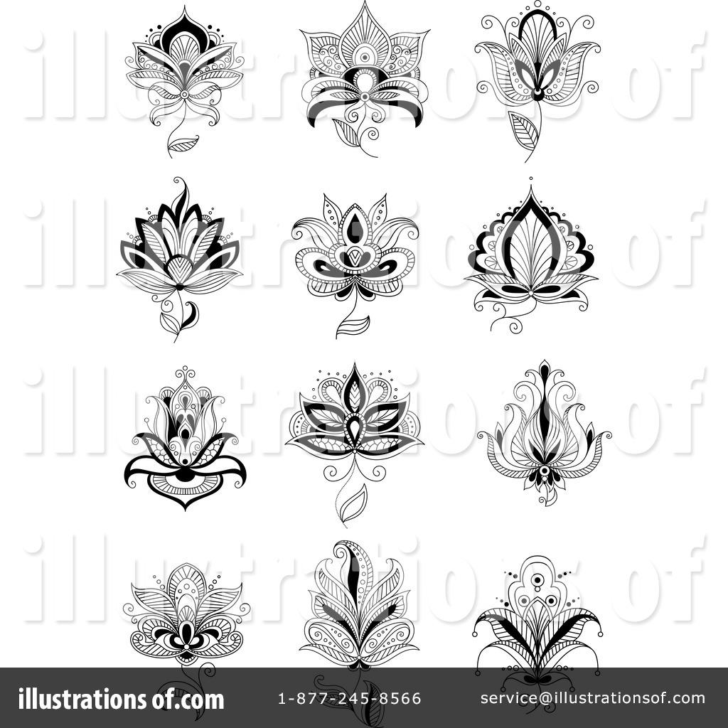 Henna Flower Clipart 1321545  Illustration By Vector
