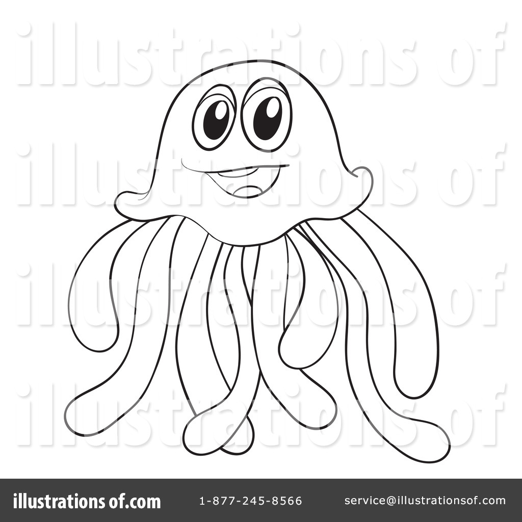 Jellyfish Clipart #1134235 - Illustration by Graphics RF for Clipart Jellyfish Black And White  174mzq
