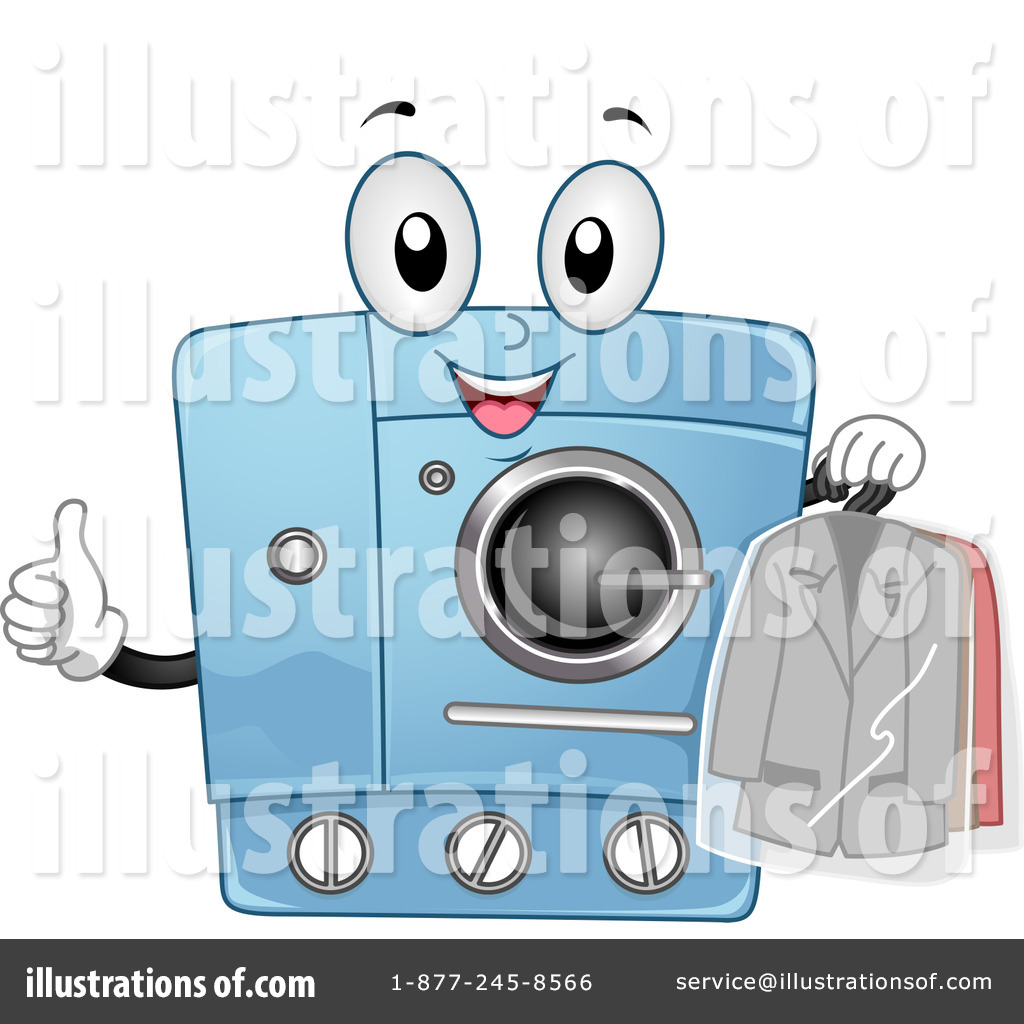 Tumble Dryer Cartoon ~ Laundry clipart illustration by bnp design studio