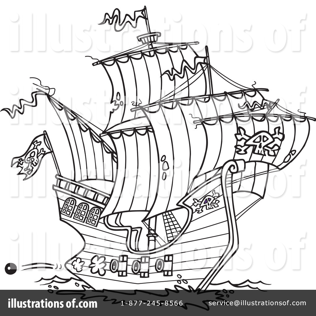 Pirate Ship Clipart #1046384 - Illustration by Ron Leishman