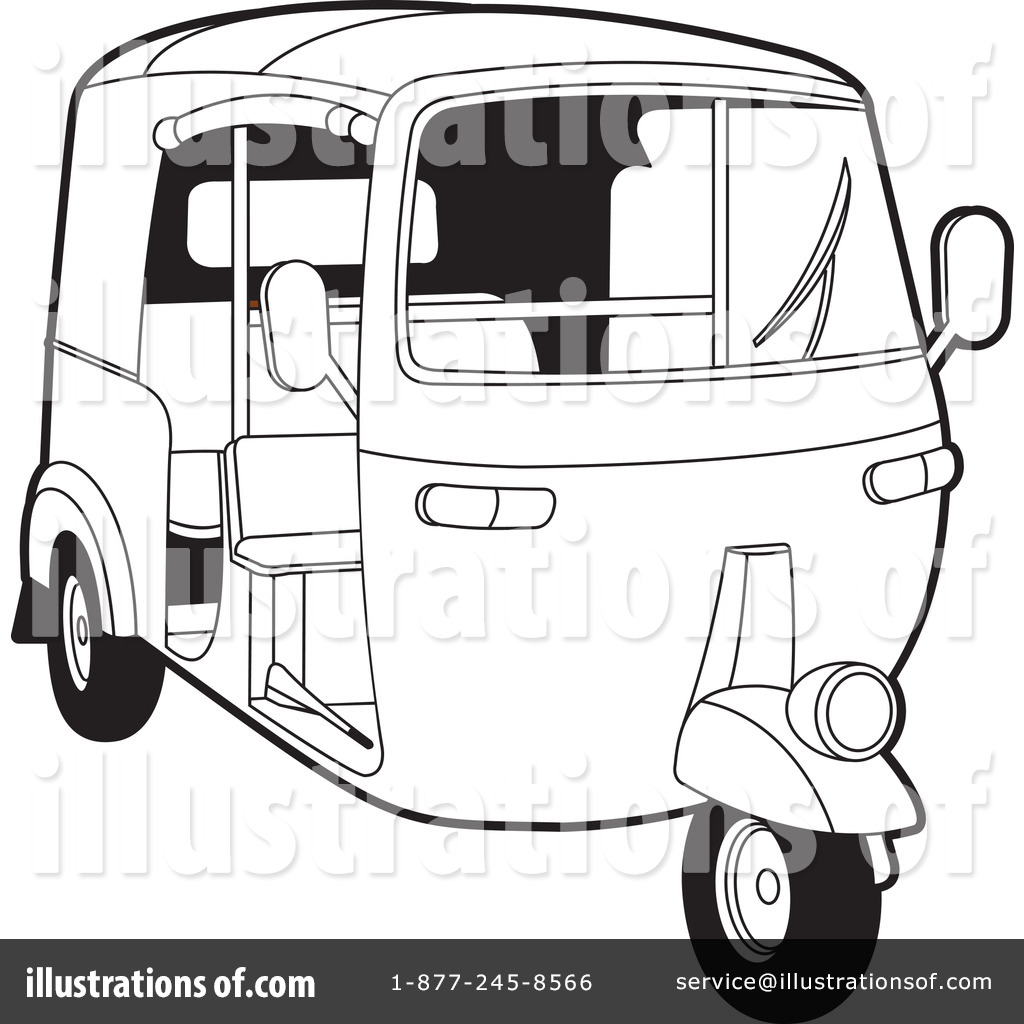 217592 Royalty Free Rickshaw Clipart Illustration on free cars 3 coloring sheets