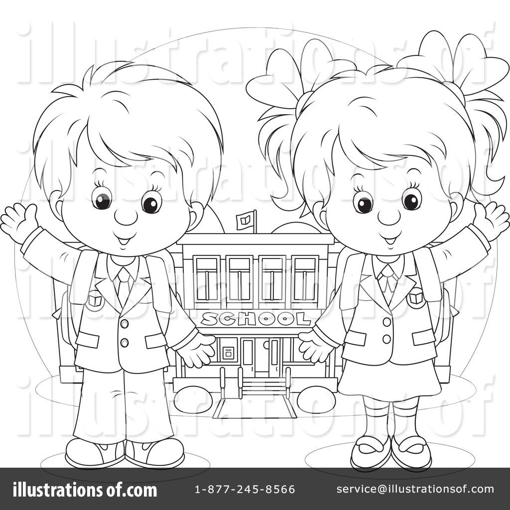 Раскраска девочка и мальчик держаться за руки - 1
