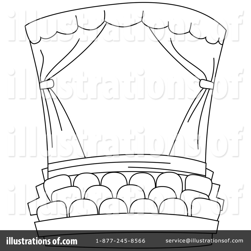 Theatre curtains drawings - Stage Curtains Colouring Pages