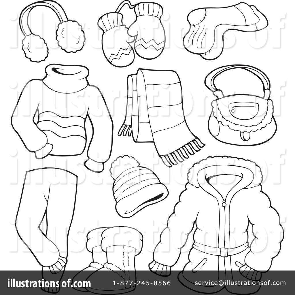 Winter Clothes Clipart #1081649 - Illustration by visekart