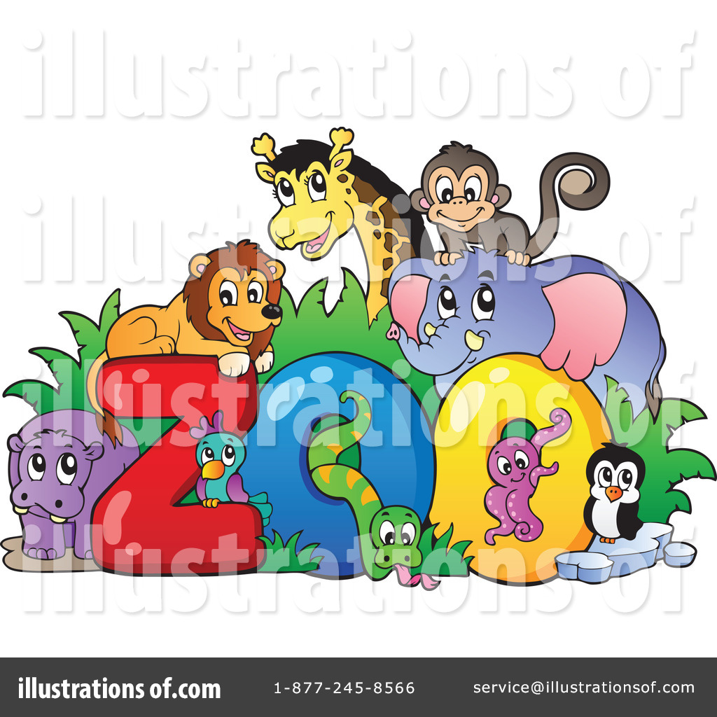 Zoo Animals Clipart #1090367 - Illustration by visekart