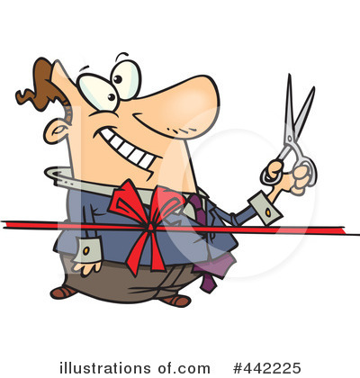 Royalty-Free (RF) Ribbon Cutting Clipart Illustration by Ron Leishman - Stock Sample #442225