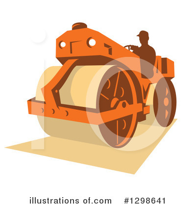 Road Roller Clipart #1298641 by patrimonio