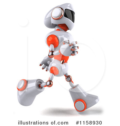 White And Orange Robot Clipart #1158930 by Julos