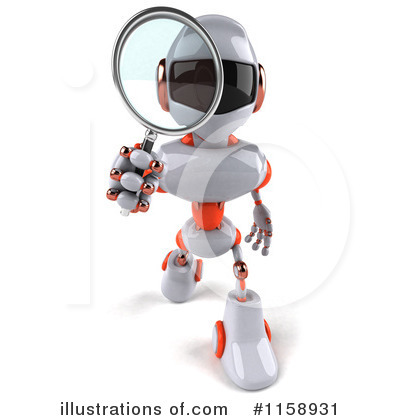 White And Orange Robot Clipart #1158931 by Julos