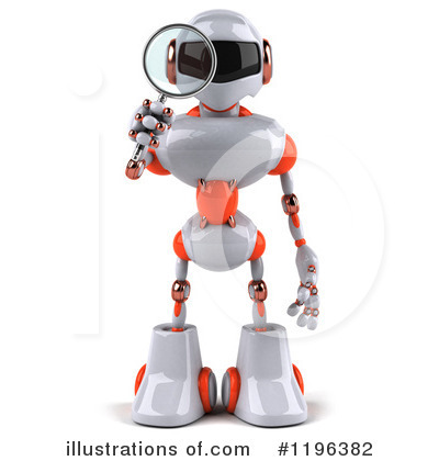 White And Orange Robot Clipart #1196382 by Julos