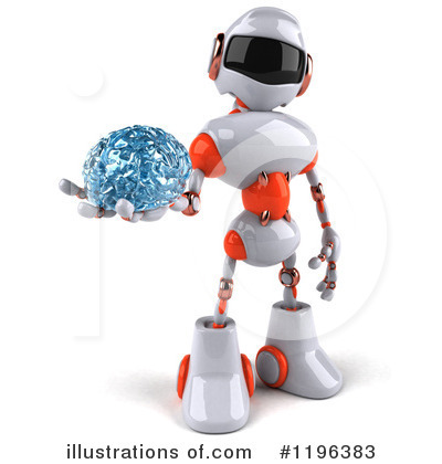 White And Orange Robot Clipart #1196383 by Julos