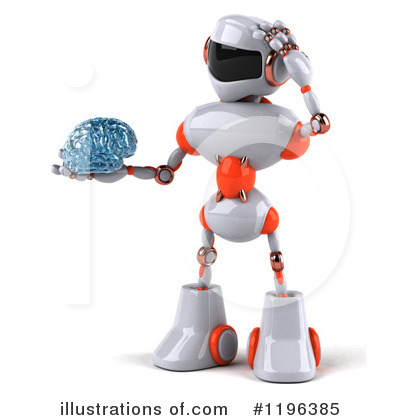 White And Orange Robot Clipart #1196385 by Julos