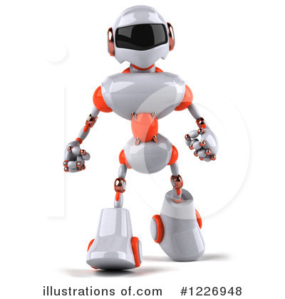 White And Orange Robot Clipart #1226948 by Julos