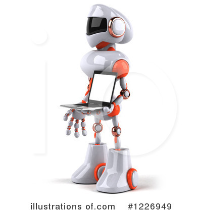 White And Orange Robot Clipart #1226949 by Julos