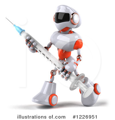 White And Orange Robot Clipart #1226951 by Julos