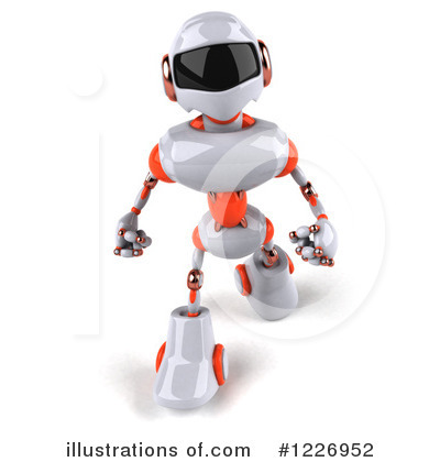 White And Orange Robot Clipart #1226952 by Julos