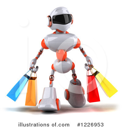 White And Orange Robot Clipart #1226953 by Julos