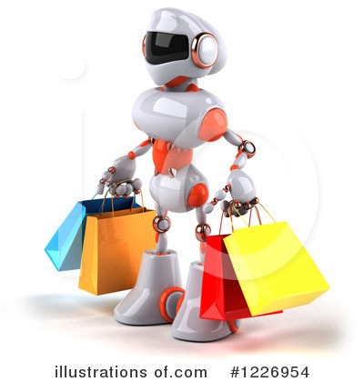 White And Orange Robot Clipart #1226954 by Julos