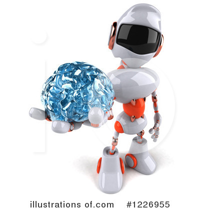 White And Orange Robot Clipart #1226955 by Julos