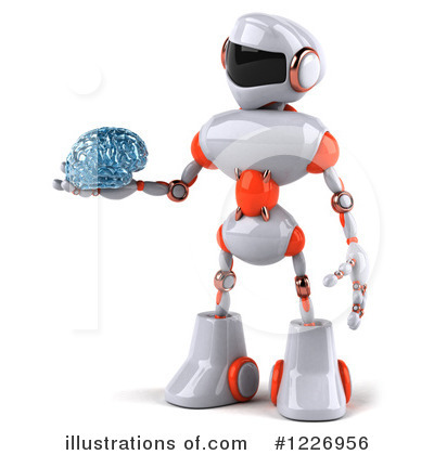 White And Orange Robot Clipart #1226956 by Julos