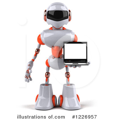 White And Orange Robot Clipart #1226957 by Julos