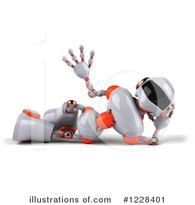 White And Orange Robot Clipart #1228401 by Julos