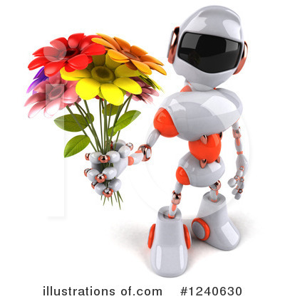 White And Orange Robot Clipart #1240630 by Julos