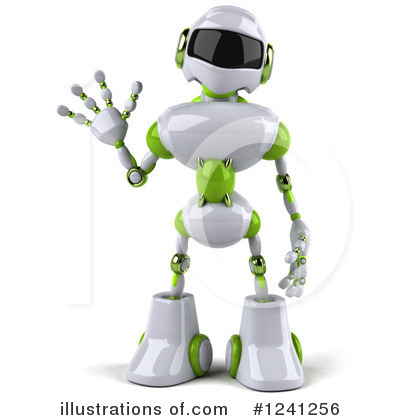 White And Green Robot Clipart #1241256 by Julos