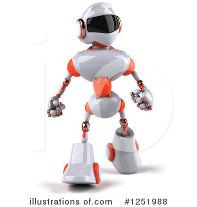 White And Orange Robot Clipart #1251988 by Julos