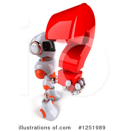 White And Orange Robot Clipart #1251989 by Julos