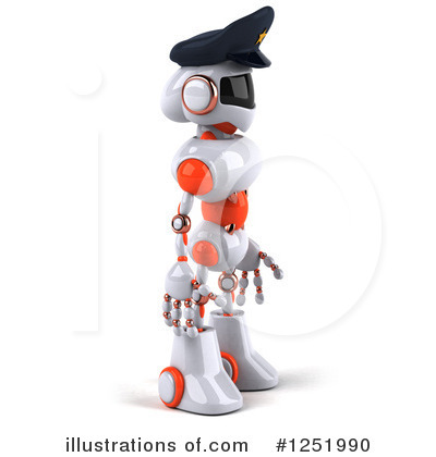 White And Orange Robot Clipart #1251990 by Julos