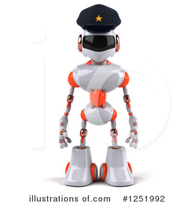 White And Orange Robot Clipart #1251992 by Julos