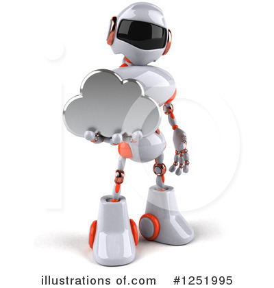 White And Orange Robot Clipart #1251995 by Julos