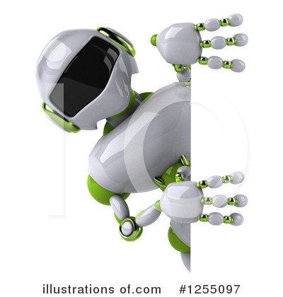 White And Green Robot Clipart #1255097 by Julos