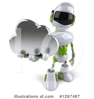 White And Green Robot Clipart #1267487 by Julos
