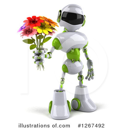 White And Green Robot Clipart #1267492 by Julos