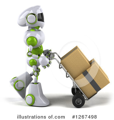 White And Green Robot Clipart #1267498 by Julos