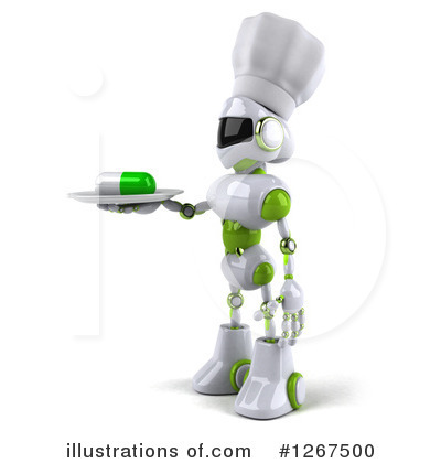 White And Green Robot Clipart #1267500 by Julos