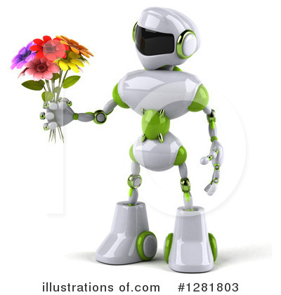White And Green Robot Clipart #1281803 by Julos