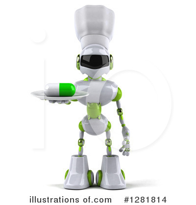 White And Green Robot Clipart #1281814 by Julos