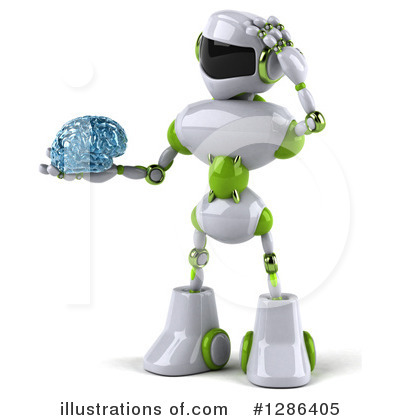 White And Green Robot Clipart #1286405 by Julos