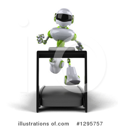 White And Green Robot Clipart #1295757 by Julos