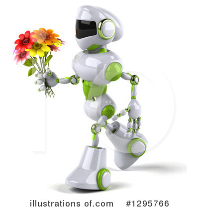 White And Green Robot Clipart #1295766 by Julos