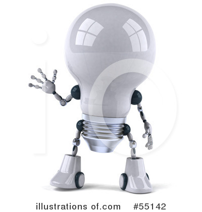 Light Bulb Robot Clipart #55142 by Julos
